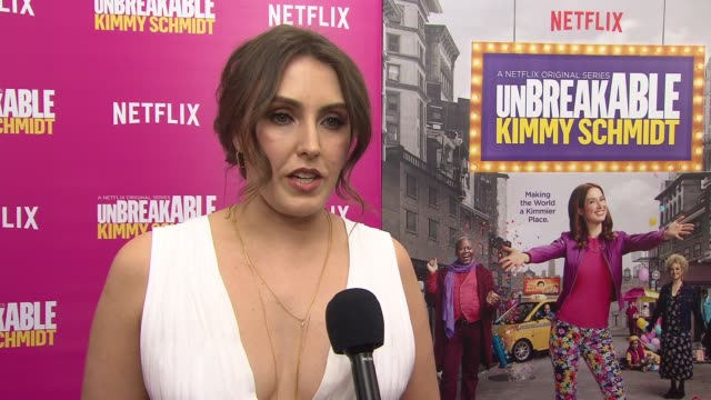 vídeos de stock, filmes e b-roll de lauren adams discusses the next season of the show. she talks about her development from the bunker and how the next season goes into her character's... - ellie kemper