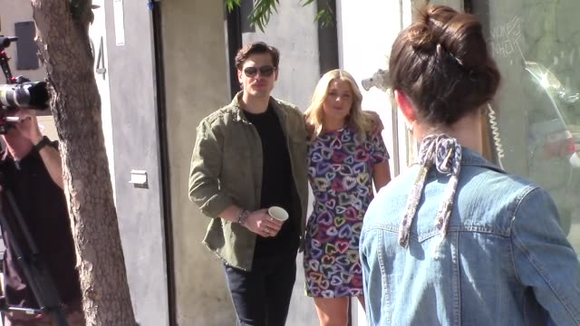 lauren alaina gleb savchenko film together outside the dwts rehearsal studio in hollywood in celebrity sightings in los angeles - dancing with the stars stock videos & royalty-free footage