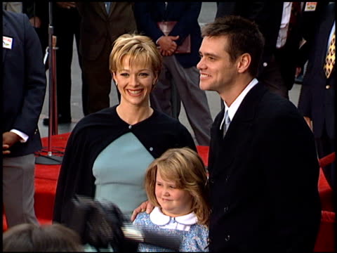 lauren holly at the dedication of jim carrey's footprints at grauman's chinese theatre in hollywood california on november 2 1995 - lauren holly stock videos and b-roll footage