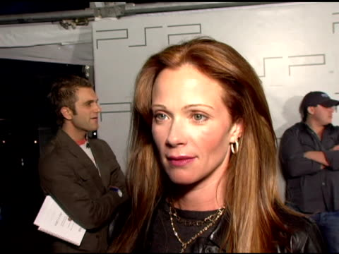 lauren holly on her fashion design for psp and her upcoming projects at the pretapsp accessories show at pacific design center in west hollywood... - lauren holly stock videos and b-roll footage