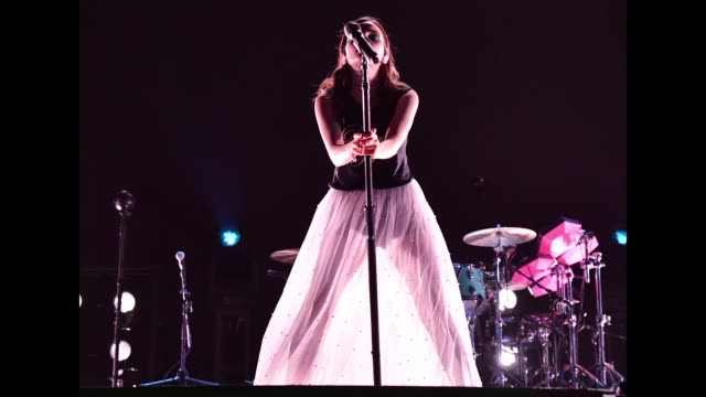 Lauren Mayberry of CHVRCHES performs on Downtown Stage during the 2018 Life Is Beautiful Festival on September 21 2018 in Las Vegas Nevada