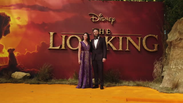 vídeos de stock e filmes b-roll de 4k lauren miller seth rogen at the lion king uk premiere on july 14 2019 in london greater london - meghan markle lion king