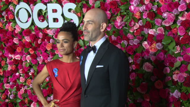 lauren ridloff and douglas ridloff at the 2018 tony awards red carpet at radio city music hall on june 10 2018 in new york city - annual tony awards stock videos & royalty-free footage