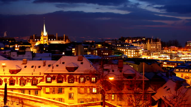 lausanne city at night