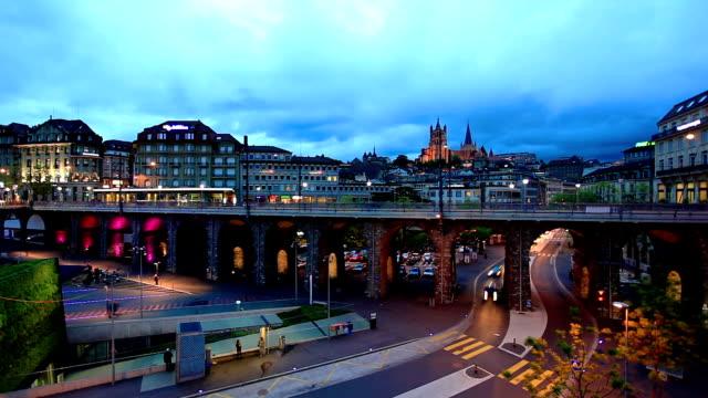 lausanne Stadt bei Nacht