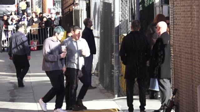 stockvideo's en b-roll-footage met lauv outside jimmy kimmel live at el capitan theater in hollywood in celebrity sightings in los angeles - el capitan theater