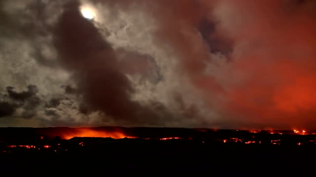 Lava and moon timelapse Night Glowing Hot flow from Kilauea Active Volcano Puu Oo Vent Active Volcano Magma