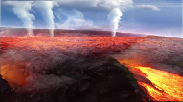 vídeos de stock, filmes e b-roll de lava and smoke roll out of a volcano as a mushroom cloud forms in the sky. - nuvem cogumelo