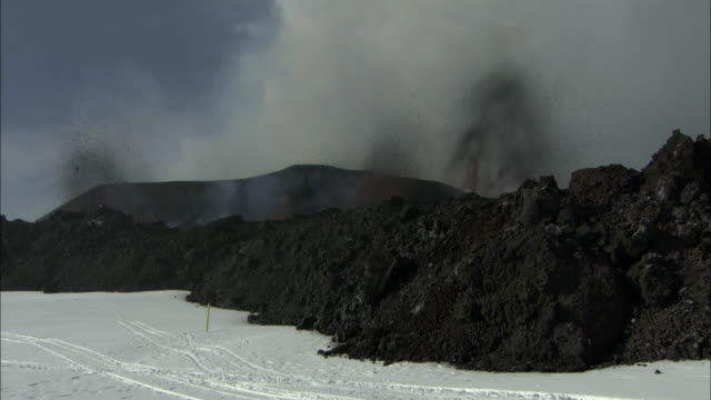 ms of lava exploding out of volcano, eyjafjallajokull, iceland, april 2010 - 2010 stock videos and b-roll footage