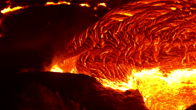 Lava flow close up 4 Night Glowing Hot flow from Kilauea Active Volcano Puu Oo Vent Active Volcano Magma