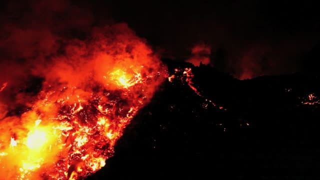 Lava flow from the Fimmvorduhals region of the Eyjafjallajokull volcano, erupting in Iceland.