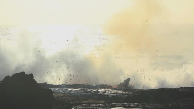 WS Lava from Kilauea volcano exploding at sunrise / Kalapana, Hawaii, USA