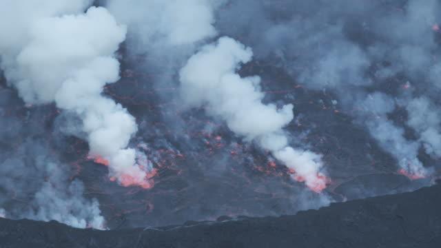Lava lake smoking, Nyiarogongo, Democratic Republic of Congo, Sep 2011