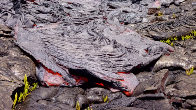 vídeos de stock, filmes e b-roll de lava lifts and flows timelapse day daytime glowing hot flow from kilauea active volcano puu oo vent active volcano magma - polinésia