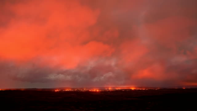 Lava milky way dark sky storm timelapse Night Glowing Hot flow from Kilauea Active Volcano Puu Oo Vent Active Volcano Magma