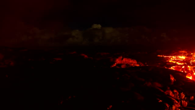 Lava pan flowing timelapse Night Glowing Hot flow from Kilauea Active Volcano Puu Oo Vent Active Volcano Magma