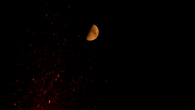 lava shoots from a volcano under a half-moon. available in hd. - erupting stock videos and b-roll footage