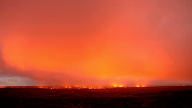 Lava storm stars timelapse 1 Night Glowing Hot flow from Kilauea Active Volcano Puu Oo Vent Active Volcano Magma