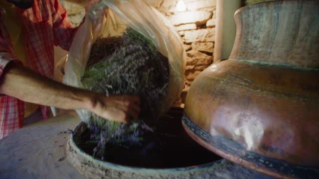 vidéos et rushes de lavande. la saison de production d'huile essentielle est maintenant. agriculteur dans la distillerie préparant la lavande pour le processus d'extraction d'huile. tourné au ralenti. - manufacturing occupation