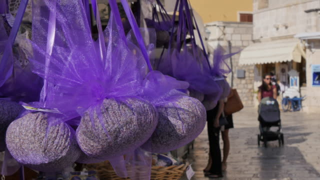 lavender stall at the port of hvar, hvar, hvar island, dalmatia, croatia, europe - pushchair stock videos & royalty-free footage