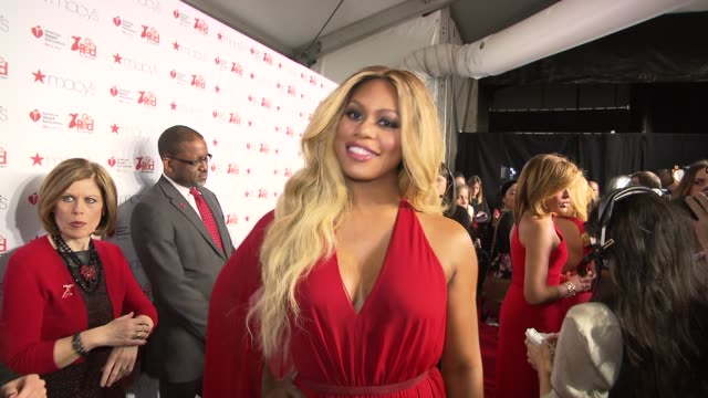 Laverne Cox at Go Red Women Red Dress Collection Runway Fall 2015 MercedesBenz Fashion Week at The Theater at Lincoln Center on February 12 2015 in...