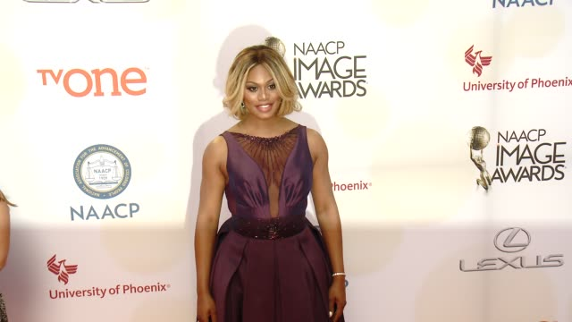 stockvideo's en b-roll-footage met laverne cox at the 46th annual naacp image awards arrivals at pasadena civic auditorium on february 06 2015 in pasadena california - pasadena civic auditorium