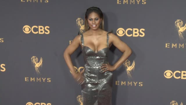 laverne cox at the 69th annual primetime emmy awards at microsoft theater on september 17 2017 in los angeles california - emmy awards stock-videos und b-roll-filmmaterial