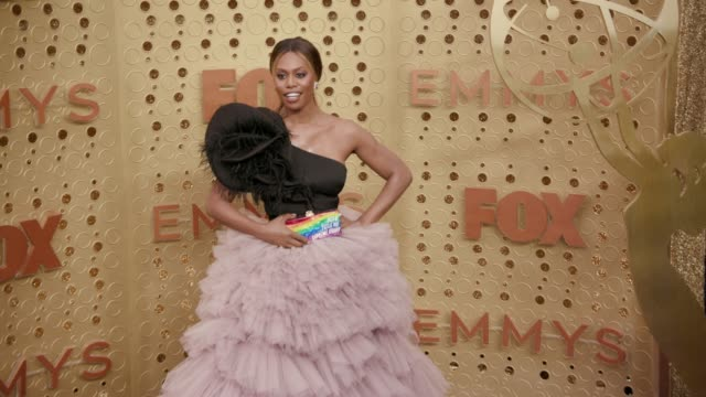vídeos y material grabado en eventos de stock de laverne cox at the 71st emmy awards - arrivals at microsoft theater on september 22, 2019 in los angeles, california. - premios emmy