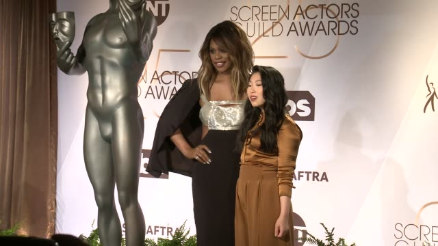 Laverne Cox Awkwafina at the 25th Annual Screen Actors Guild Awards Nominations at Pacific Design Center on December 12 2018 in West Hollywood...