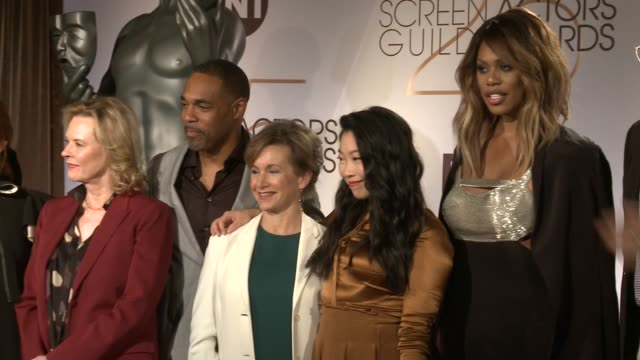 laverne cox awkwafina gabrielle carteris jason george jobeth williams at the 25th annual screen actors guild awards nominations at pacific design... - jason george stock videos and b-roll footage