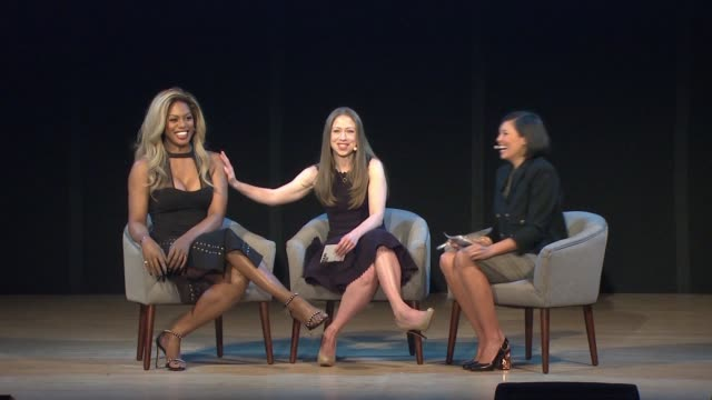 SPEECH Laverne Cox Chelsea Clinton and Alex Wagner on the political discourse and boosting people up at Glamour's Women Of The Year LIVE Summit at...