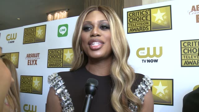 INTERVIEW Laverne Cox on her series and on working on such a popular series at the 2014 Critics' Choice Television Awards at The Beverly Hilton Hotel...