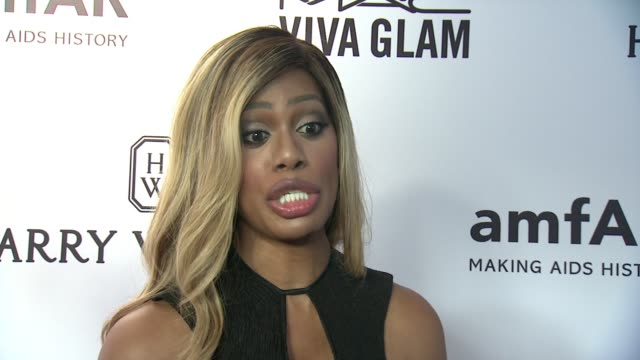INTERVIEW Laverne Cox on supporting the community at 2015 amfAR Inspiration Gala New York at Spring Studios on June 16 2015 in New York City