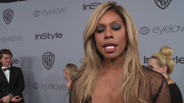 vídeos de stock, filmes e b-roll de interview laverne cox on why she wanted to celebrate with instyle the most special part of the evening and why it was important for her to support... - golden globes