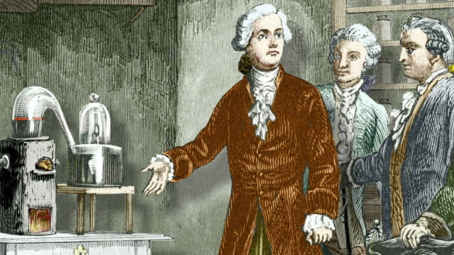 Lavoisier's experiment on air. Historical artwork of the French chemist Antoine Laurent Lavoisier (1743-1794) showing fellow scientists his 1776 experiment that revealed the composition of air.