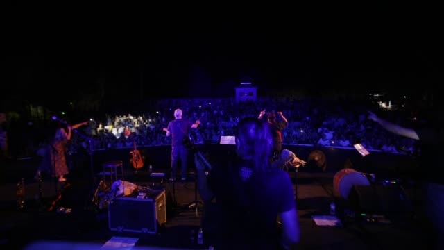 lavrentis macheristas and nikos portokaloglou greek singers performs at kipotheatro limassol in a concert of agios skepis 20 years anniversary on... - substance abuse stock videos and b-roll footage