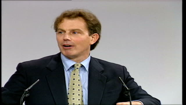 blair champions victims/reaction tx 1992 tony blair mp speech sot tough on crime tough on the causes of crime tx 1997 blair speech sot need to... - 強靭性点の映像素材/bロール