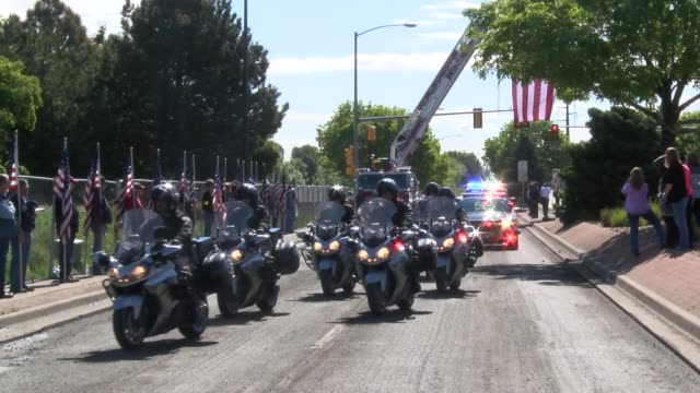 law enforcement agencies from across the state joined with the colorado state patrol in the funeral procession for cadet taylor thyfault who was... - funeral procession stock videos & royalty-free footage