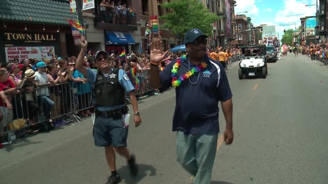 wgn law enforcement groups including the chicago police chief walking in the 48th annual chicago pride parade on june 25 2017 - police chief stock videos and b-roll footage