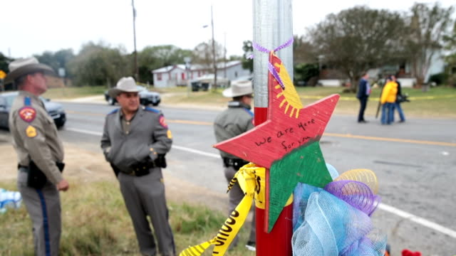 Law enforcement officials continue their investigation at the First Baptist Church of Sutherland Spring on November 8 2017 in Sutherland Springs...