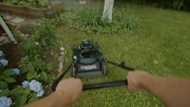 rasenmäher sicht menschenhand sonnenuntergang sommer rasen - subjektive kamera ungewöhnliche ansicht stock-videos und b-roll-filmmaterial