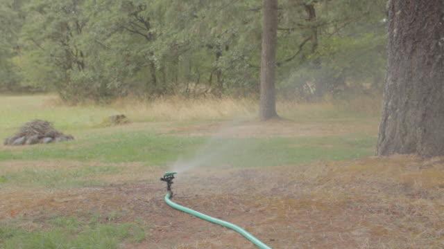 vídeos y material grabado en eventos de stock de lawn sprinkler splashing water - manguera