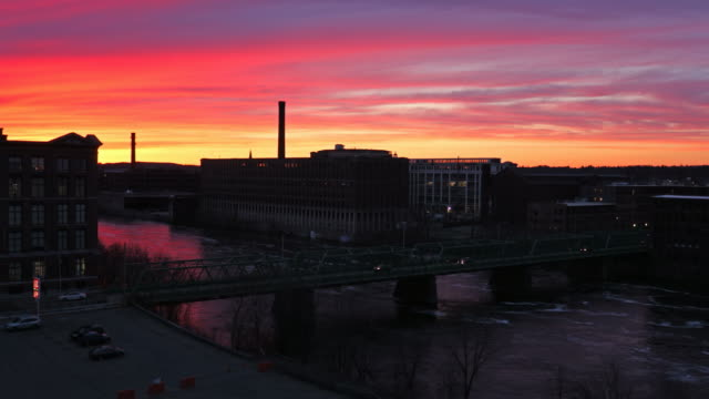 lawrence massachusetts mills along the merrimack river - industrial revolution stock videos & royalty-free footage