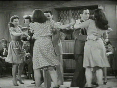 """lawrence welk and orchestra performing """"slap your hip polka""""; welk playing accordion, leading adult caucasian male orchestra. young adult caucasian... - dinner jacket stock videos & royalty-free footage"""