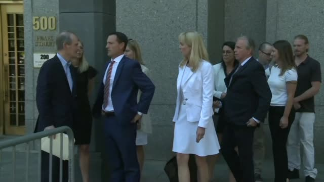 lawyers of alleged victims leave court after jeffrey epstein's bail hearing - court hearing stock videos and b-roll footage