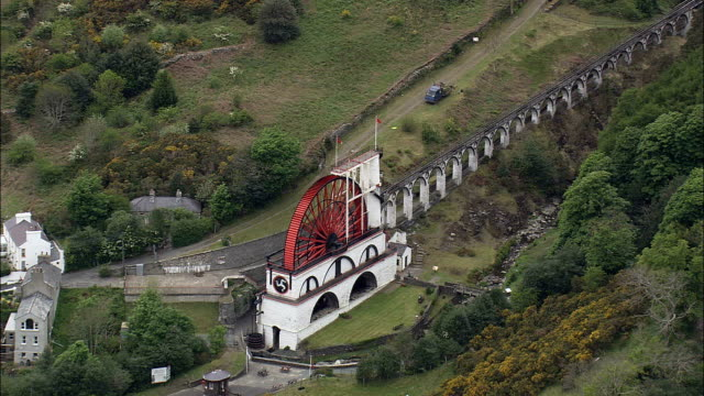 laxey wheel - aerial view -, isle of man - isle of man stock videos & royalty-free footage