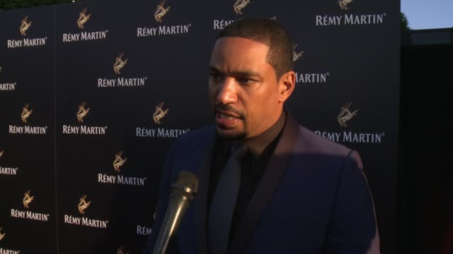 laz alonso on his favorite way to drink remy martin, on how he got involved with the brand at rémy martin hosts a special evening with jeremy renner... - wap stock videos & royalty-free footage