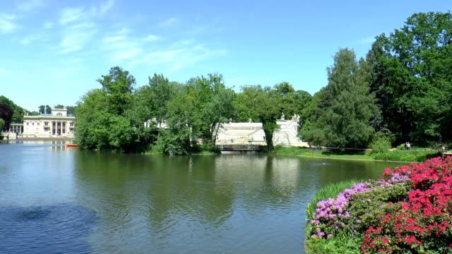lazienki pond - warsaw, poland - pond stock videos & royalty-free footage