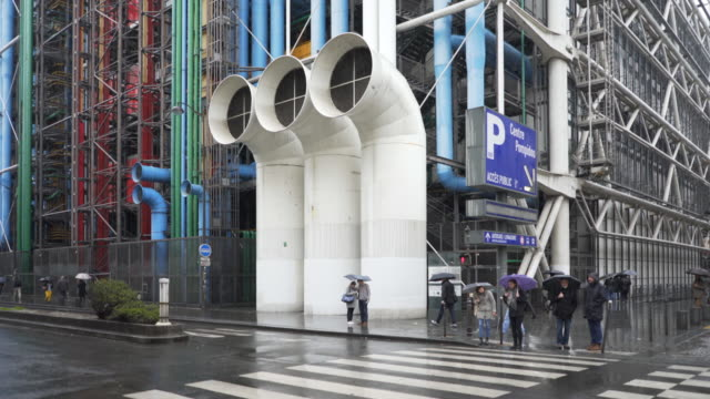 Le Centre Pompidou in the pouring rain during winter.