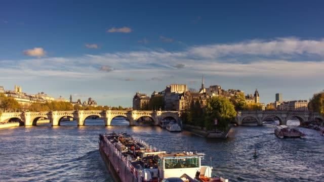 île de la cité and the seine - time lapse - seine river stock videos and b-roll footage